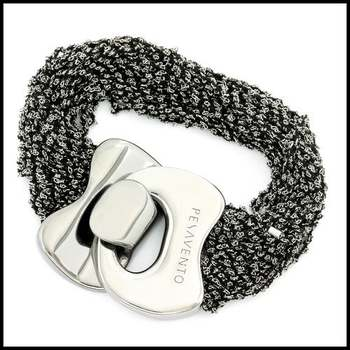 Pesavento DNA Collection .925 Sterling Silver & Ruthenium Multi-Strand Mesh Bracelet