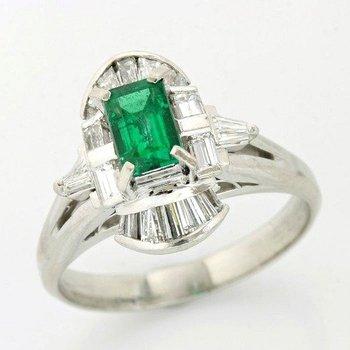 Platinum, 0.58ctw Genuine H/SI Diamonds & 0.54ctw Genuine Emerald Ring sz 6