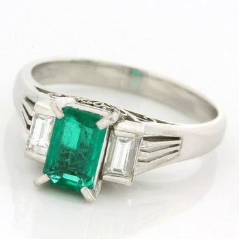 Platinum, 0.75ctw Genuine Emerald & 0.38ctw Genuine F/VVS Diamonds Ring sz 6