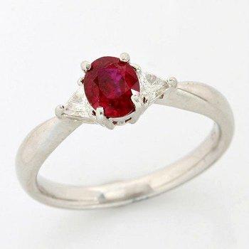 Platinum, 0.78ctw Genuine Ruby and 0.165ctw Genuine Diamonds Ring size 6