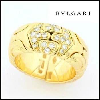 RARE Vintage Bvlgari/Bulgari Pernetisti 18k Yellow Gold & Diamond Open Band Ring Sz -5-6