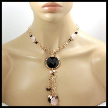 """Rose Gold over Sterling Silver (42.3 Grams!) Genuine Gemstone Necklace 22"""" with 5"""" Drop"""