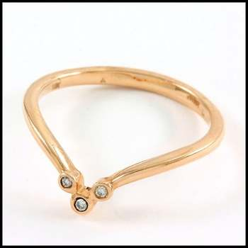 Solid 10k Rose Gold, 0.03ctw Genuine Diamond Ring Size 7