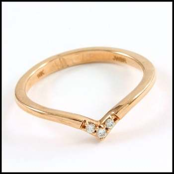 Solid 10k Rose Gold, 0.05ctw Genuine Diamond Ring Size 7