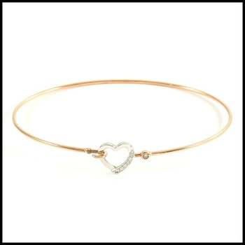 Solid 10k Rose Gold, 0.06ctw Genuine Diamond Bangle Bracelet