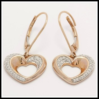 Solid 10k Rose Gold, 0.06ctw Genuine Diamonds Heart Earrings