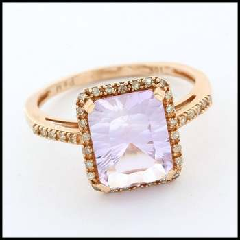 Solid 10k Rose Gold, 0.12ctw Genuine Diamond & 5.50ctw Amethyst Ring Size 7.5