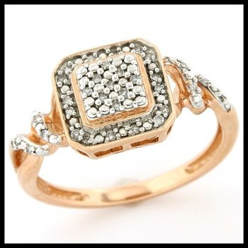 Solid 10k Rose Gold, 0.12ctw Genuine Diamonds Ring size 7