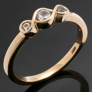 Solid 10k Rose Gold, 0.14ctw White Sapphire Ring sz 7