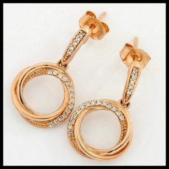 Solid 10k Rose Gold, 0.15ctw Genuine I1-I2 Diamonds Earrings