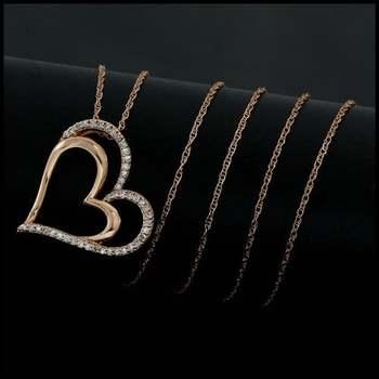 Solid 10k Rose Gold, 0.17ctw Genuine Diamonds Necklace