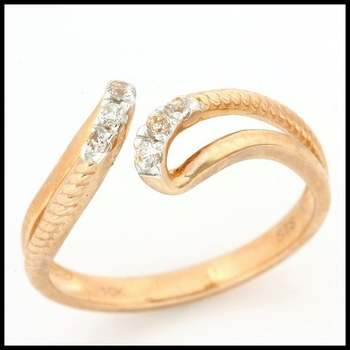 Solid 10k Rose Gold, 0.20ctw Genuine White Sapphire Adjustable Ring