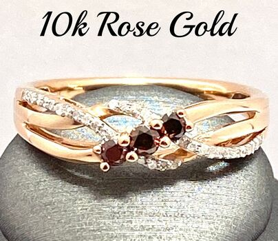 Solid 10k Rose Gold, 0.25ctw Genuine Chocolate & White Diamond Ring Size 7