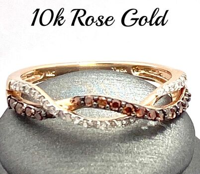 Solid 10k Rose Gold, 0.25ctw Genuine Chocolate & White Diamond Ring Size 9