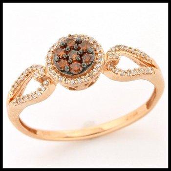 Solid 10k Rose Gold, 0.25ctw Genuine Cognac & White Diamonds Ring sz 6 3/4
