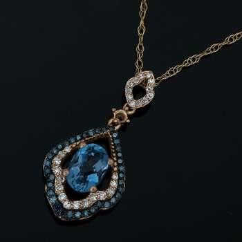 Solid 10k Rose Gold, 0.25ctw Genuine Diamond & 1.75ctw London Blue Topaz Necklace