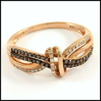 Solid 10k Rose Gold, 0.25ctw Genuine Diamond Ring Size 7