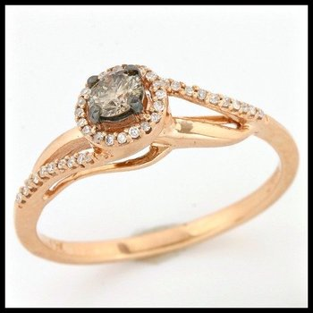 Solid 10k Rose Gold, 0.25ctw Genuine Diamonds Ring size 7
