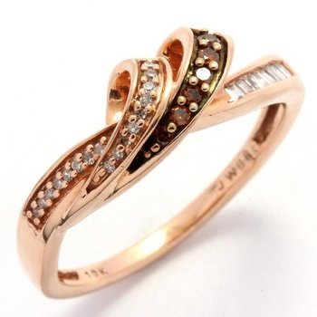 Solid 10k Rose Gold, 0.25ctw Genuine White & Champagne Diamonds Ring sz 7