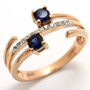 Solid 10k Rose Gold, 0.32ctw Blue & White Sapphire Ring size 7