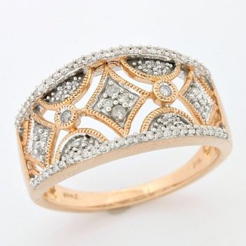 Solid 10k Rose Gold, 0.35ctw Genuine Diamonds Ring size 7