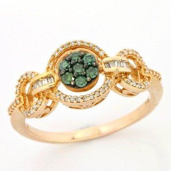Solid 10k Rose Gold, 0.35ctw Genuine White & Green Diamonds Ring sz 6 3/4