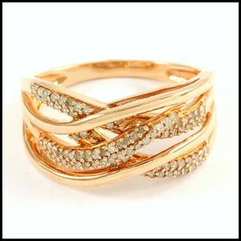 Solid 10k Rose Gold, 0.40ctw Genuine Diamond Ring Size 7.25