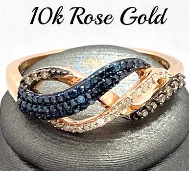 Solid 10k Rose Gold, 0.40ctw Genuine Fancy Brown & Blue & White Diamond Ring Size 7