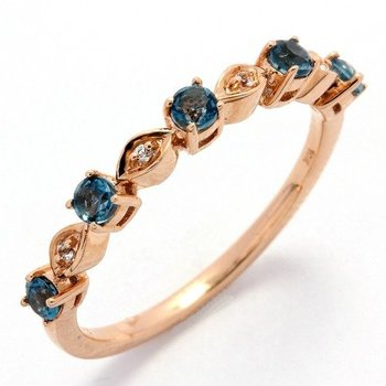 Solid 10k Rose Gold, 0.40ctw Genuine London Blue & White Topaz Ring sz 7