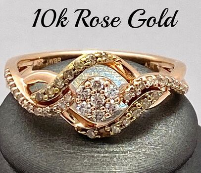 Solid 10k Rose Gold, 0.40ctw Multi-Color Diamond Ring Size 7