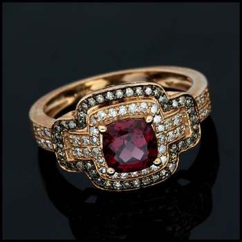 Solid 10k Rose Gold, 0.45ctw Genuine Diamond & 1.00ctw Cushion Cut Rhodolite Ring Size 7