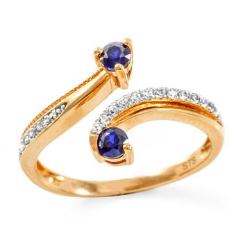 Solid 10k Rose Gold, 0.48ctw Blue & White Sapphire Adjustable Ring Size 7