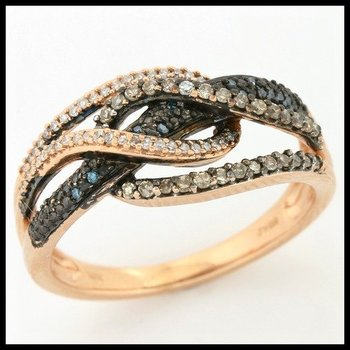 Solid 10k Rose Gold, 0.50ctw Genuine Diamonds Ring size 7