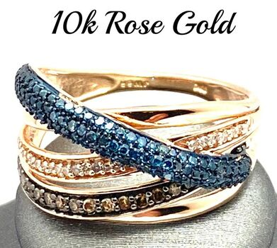 Solid 10k Rose Gold, 0.50ctw Genuine Fancy Brown & Blue & White Diamond Ring Size 7.5