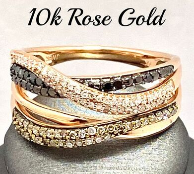 Solid 10k Rose Gold, 0.50ctw Genuine Multi-Color Diamond Ring Size 7