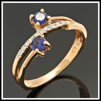Solid 10K Rose Gold, 0.52ctw Blue & White Sapphire Ring Size 7