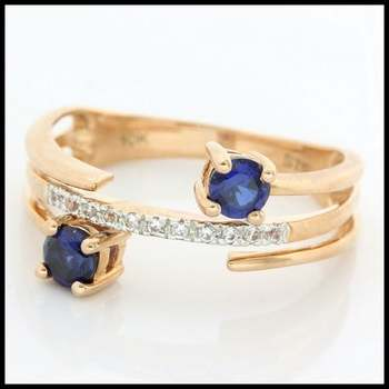 Solid 10k Rose Gold, 0.55ctw Blue & White Sapphire Ring size 7