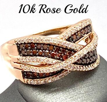 Solid 10k Rose Gold, 0.75ctw of Genuine Chocolate & White Diamond Ring Size 7