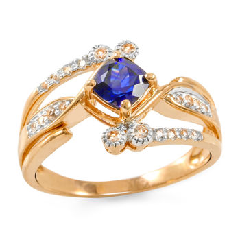 Solid 10k Rose Gold, 0.95ctw Blue & White Sapphire Ring size 7