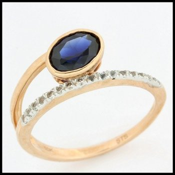 Solid 10k Rose Gold, 1.00ctw Blue & White Sapphire Ring size 7