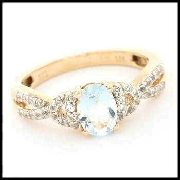 Solid 10k Rose Gold, 1.00ctw Genuine Blue Topaz & 0.35ctw Genuine White Topaz Ring sz 7