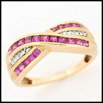 Solid 10k Rose Gold, 1.00ctw Ruby & 0.01ctw Genuine Diamonds Ring sz 7
