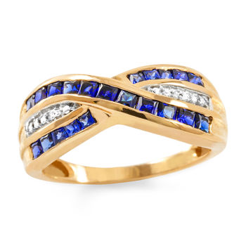 Solid 10k Rose Gold, 1.12ctw Blue & White Sapphire Ring size 7