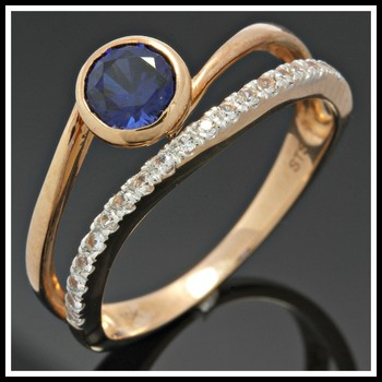 Solid 10K Rose Gold, 1.20ctw Blue & White Sapphire Ring Size 7