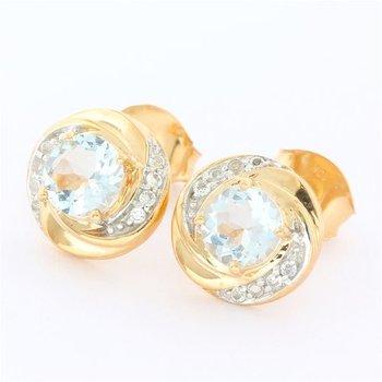 Solid 10k Rose Gold, 1.20ctw Genuine Aquamarine & 0.15ctw Genuine White Topaz Earrings