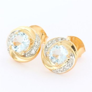 Solid 10k Rose Gold, 1.20ctw Genuine Aquamarine & 0.15ctw Genuine White Topaz Earrings