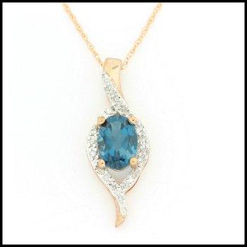 Solid 10k Rose Gold, 1.20ctw Genuine Diamonds & London Blue Topaz Pendant Necklace