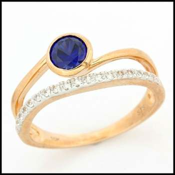 Solid 10k Rose Gold, 1.25ctw Blue & White Sapphire Ring size 7