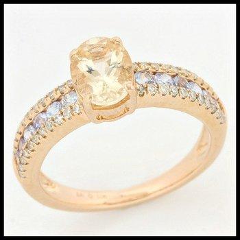 Solid 10k Rose Gold, 1.25ctw Genuine Diamonds, Morganite & Tanzanite Ring sz 7