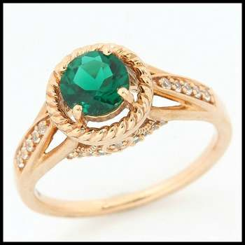 Solid 10k Rose Gold, 1.40ctw Emerald & White Sapphire Ring size 7